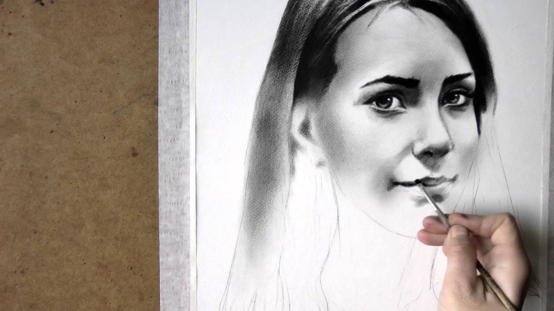 1920x1080 Black And White Realistic Speed Drawing Of Woman Portrait In Dry