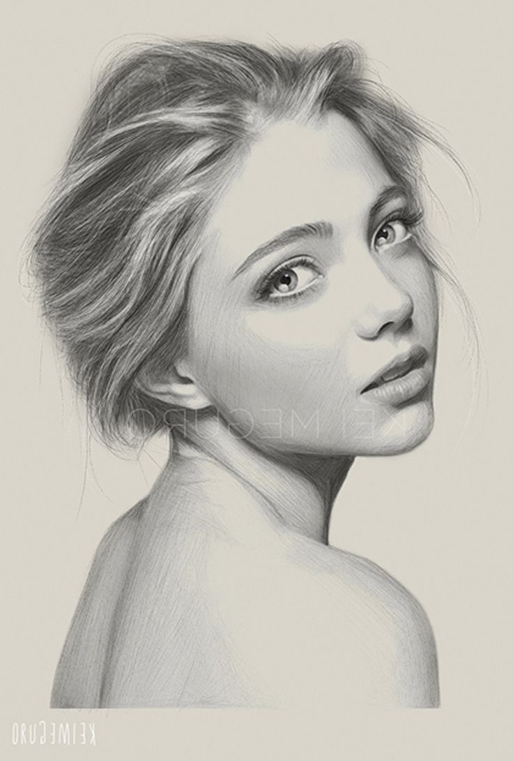 736x1090 Gallery Drawing Realistic Woman,