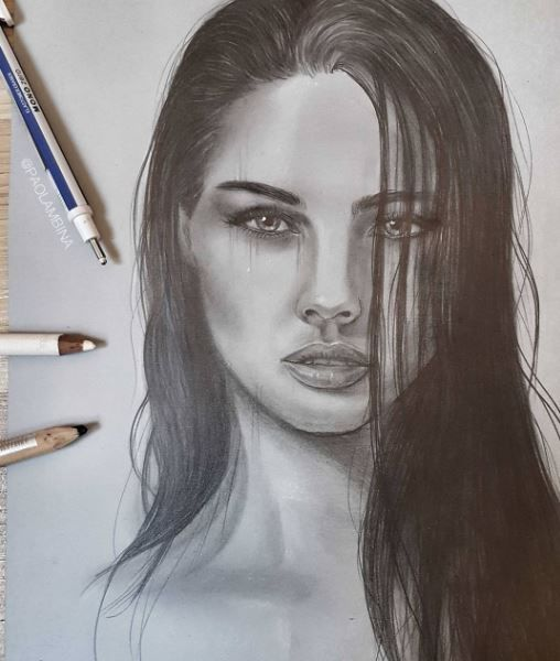 508x600 Realistic Woman Drawing