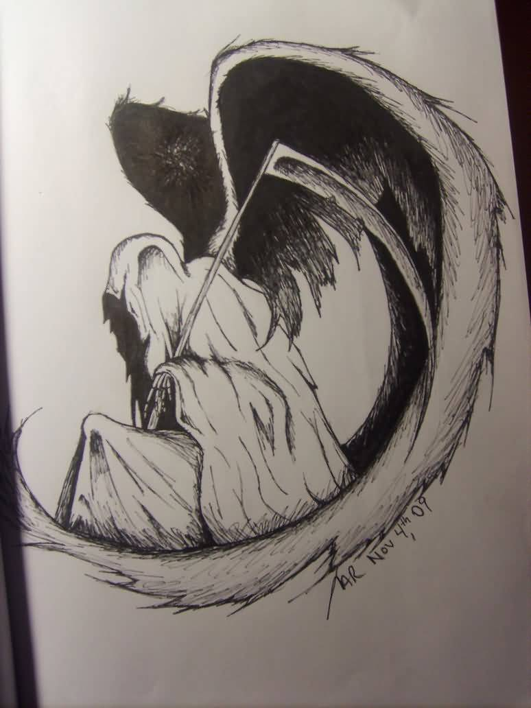 774x1032 Images Of How To Draw Realistic Grim Reaper Grim Reaper Tattoo