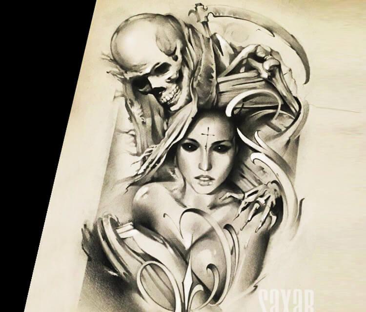 750x640 Soul Reaper Sketch Drawing By Sergey Shanko No. 1875