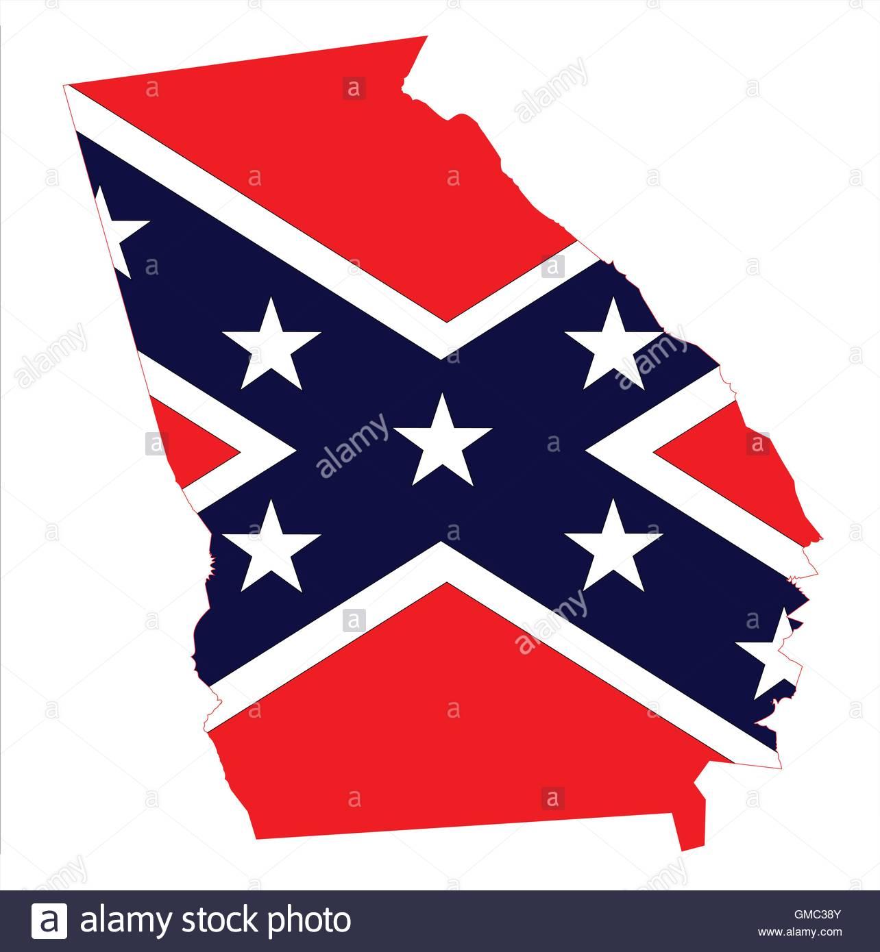 1284x1390 Georgia Map And Confederate Flag Stock Vector Art Amp Illustration