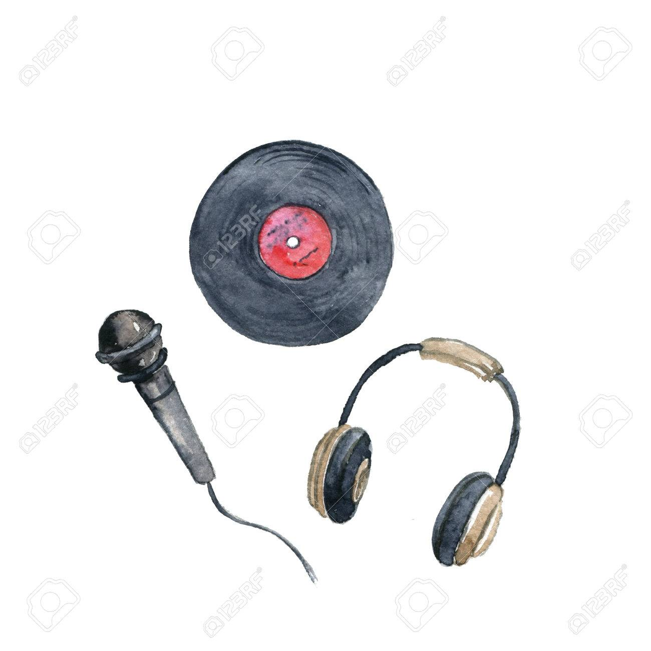 1300x1300 Watercolor Drawing Vinyl Record, Microphone And Headphones Stock