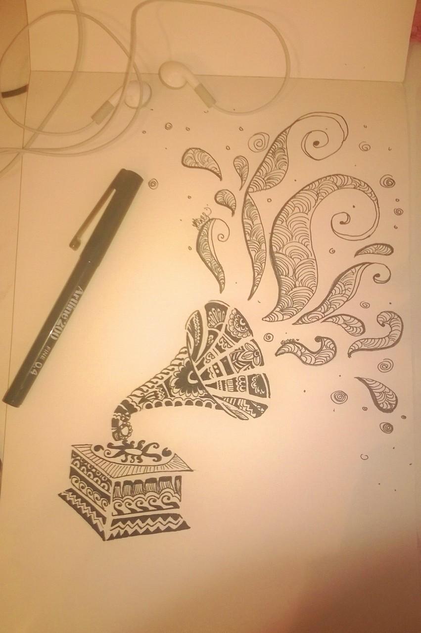851x1279 Patterned Recorder' Pen Drawing (Felt Tip)