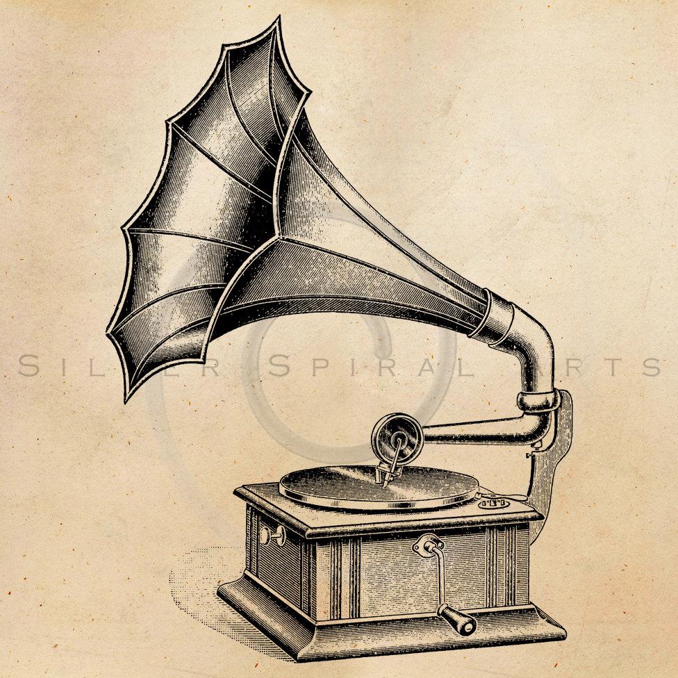 976x976 Vintage Record Player Illustration Printable 1900s Antique Print
