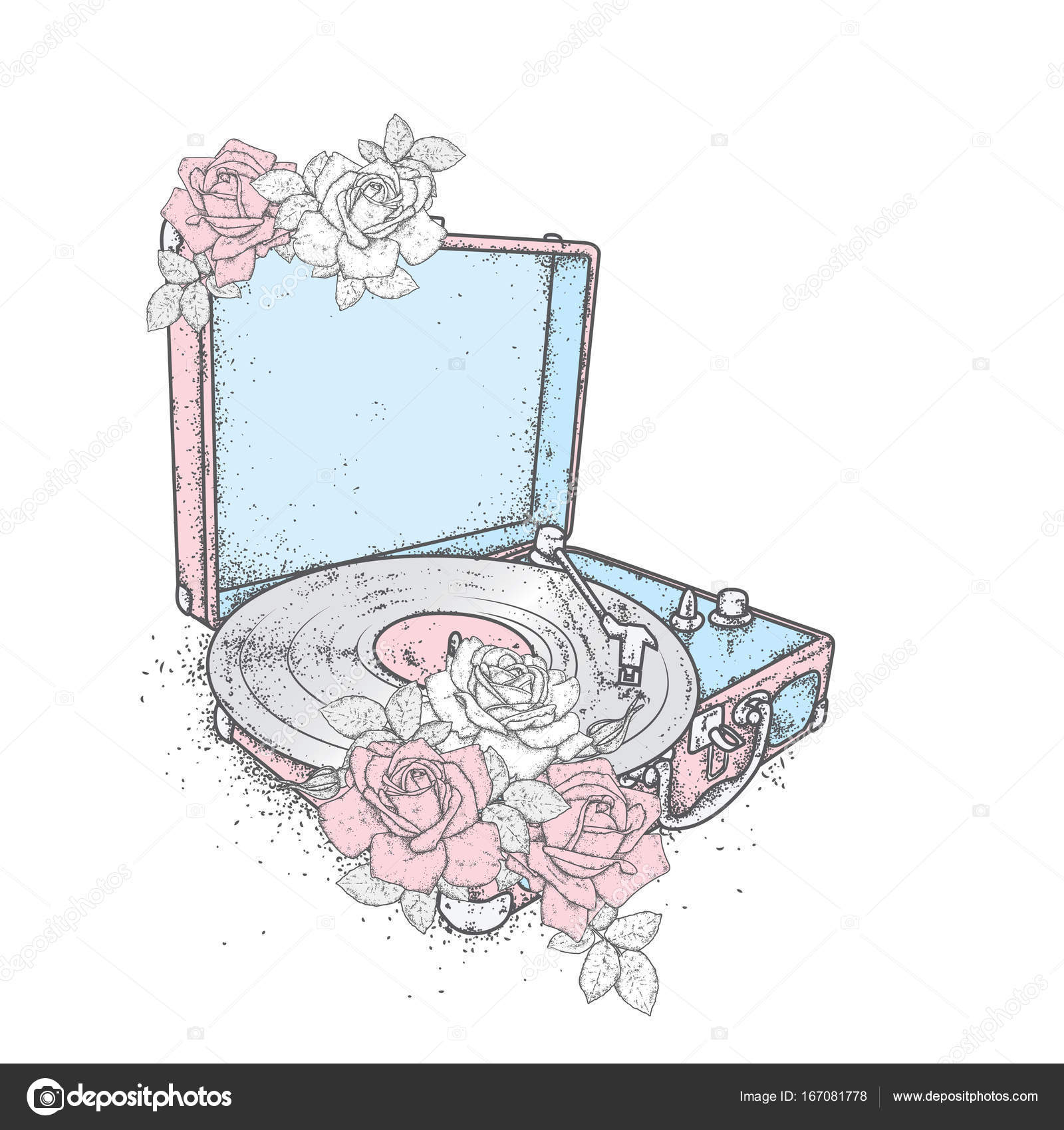 1600x1700 Vintage Record Player Vinyl Records And Roses. Vintage. Music