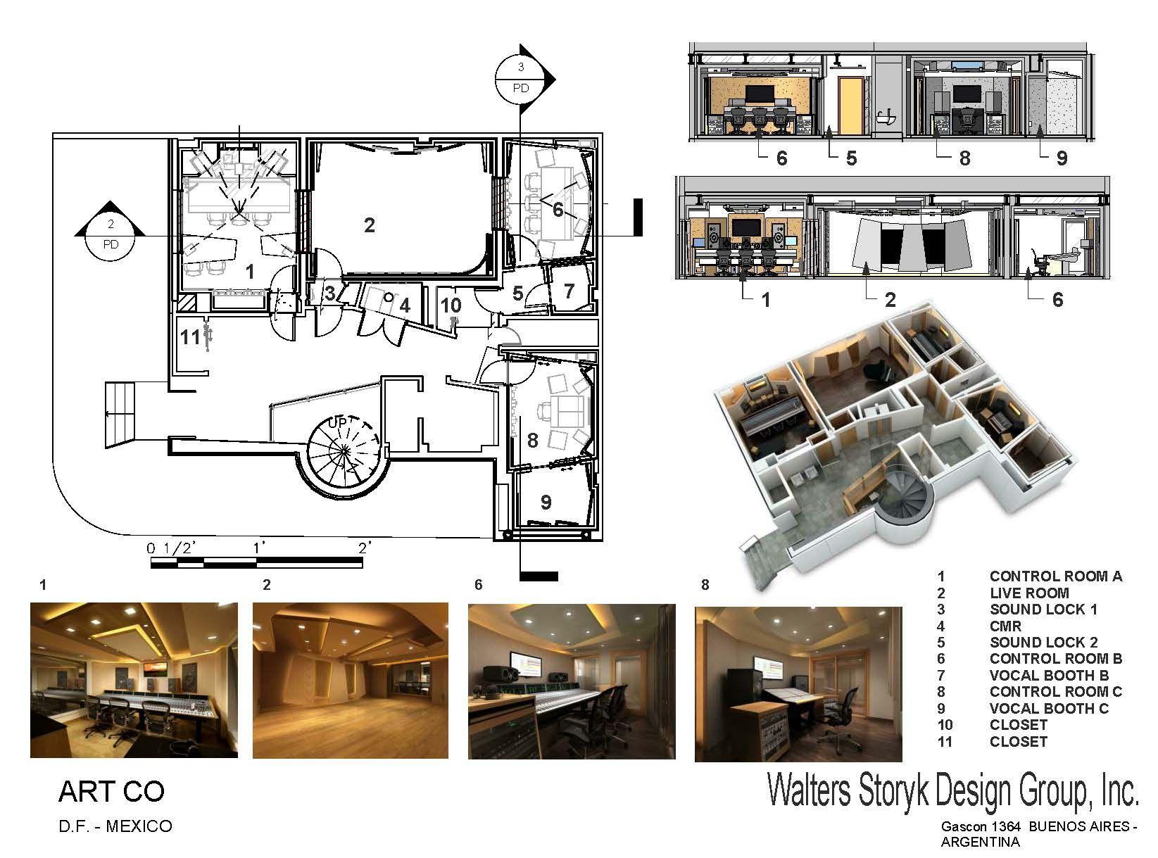 1645x1219 Presentation Drawing, Artco Recording Studios Mexico Df, Mexico