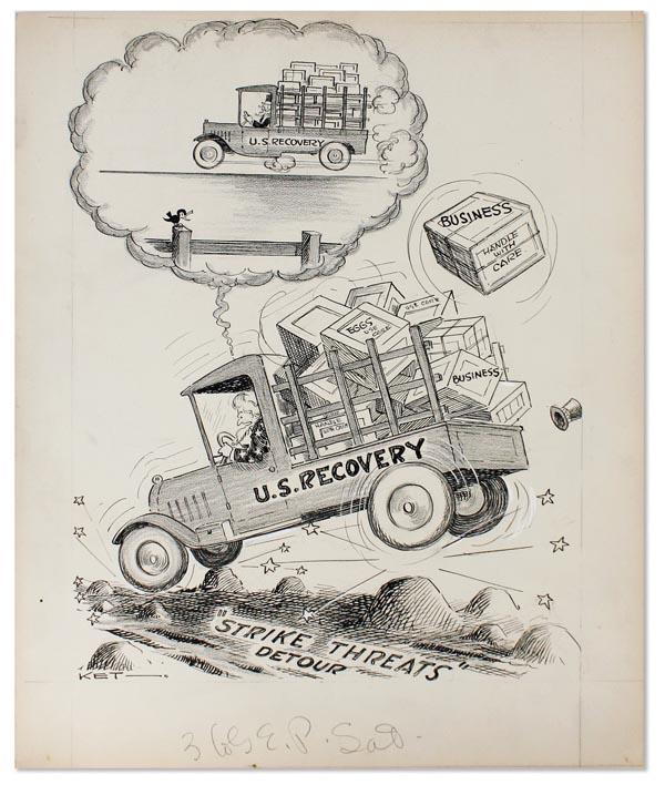600x708 Original Pen And Ink Drawing U.s. Recovery Original Cartoons