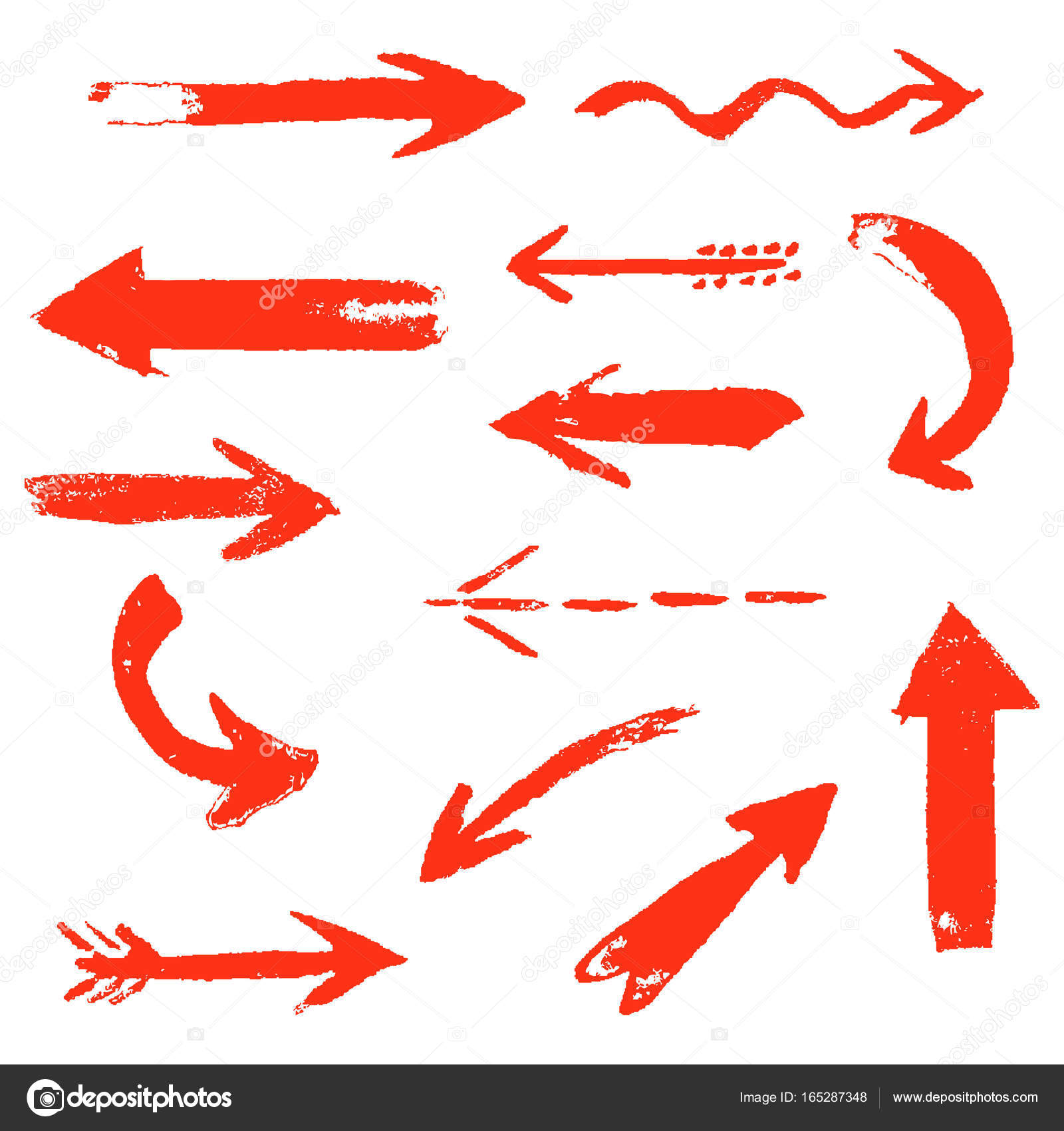 1600x1700 Set Of Hand Drawing Comic Red Arrows. Stock Vector