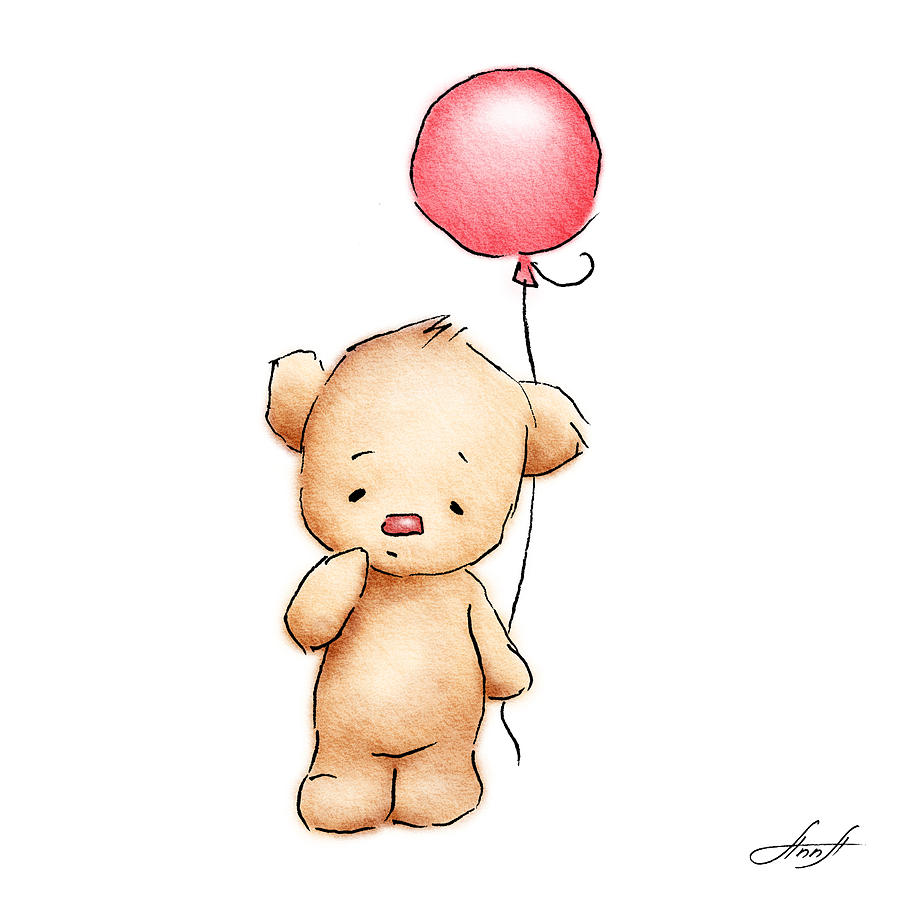 900x900 Bear With Red Balloon Drawing By Anna Abramska