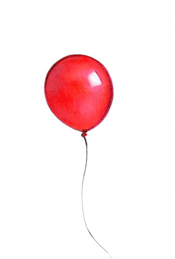 677x1000 Red Balloon Art Print Of Aniginal Drawing Available 5x7