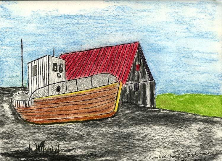 750x545 Beached Boat And Red Barn Drawing By Robert Wittig