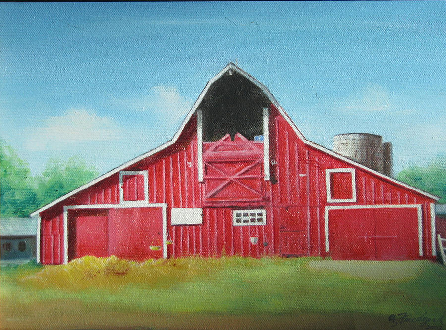 900x667 Big Red Barn Painting By Oz Freedgood