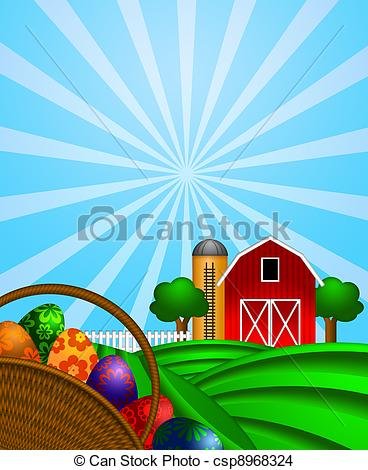368x470 Easter Eggs Basket With Red Barn On Green Pasture. Happy