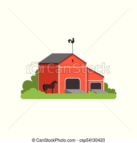 450x470 Red Barn, Rural Farm Building, Countryside Life Object Vector