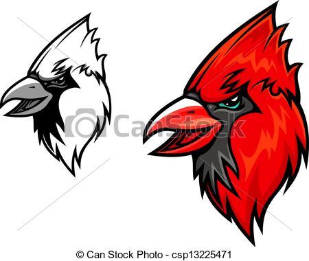 450x380 Cardinal Birds. Red Cardinal Bird Head In Cartoon Style