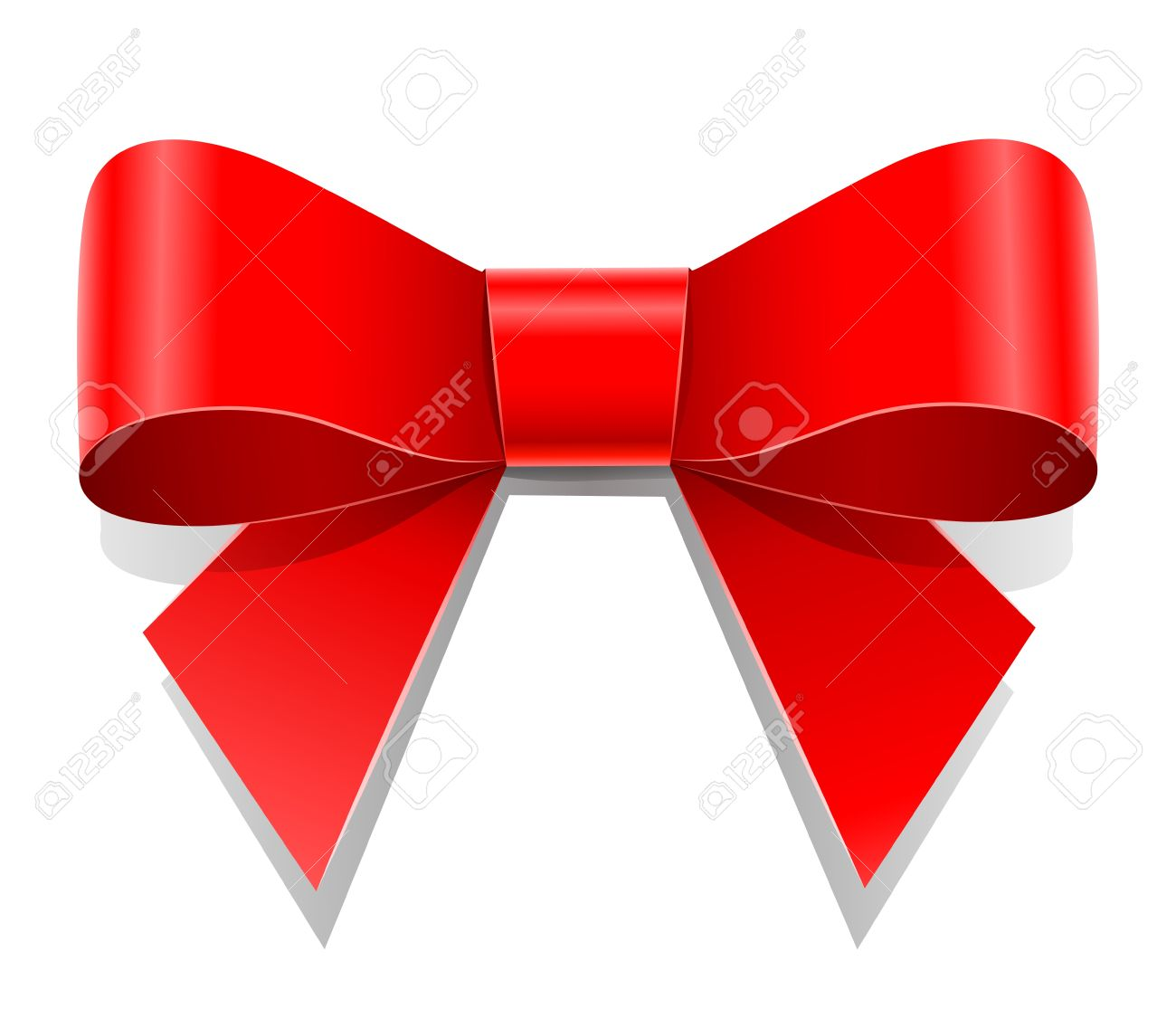 1300x1115 Red Bow Vector Illustration Isolated On White Background