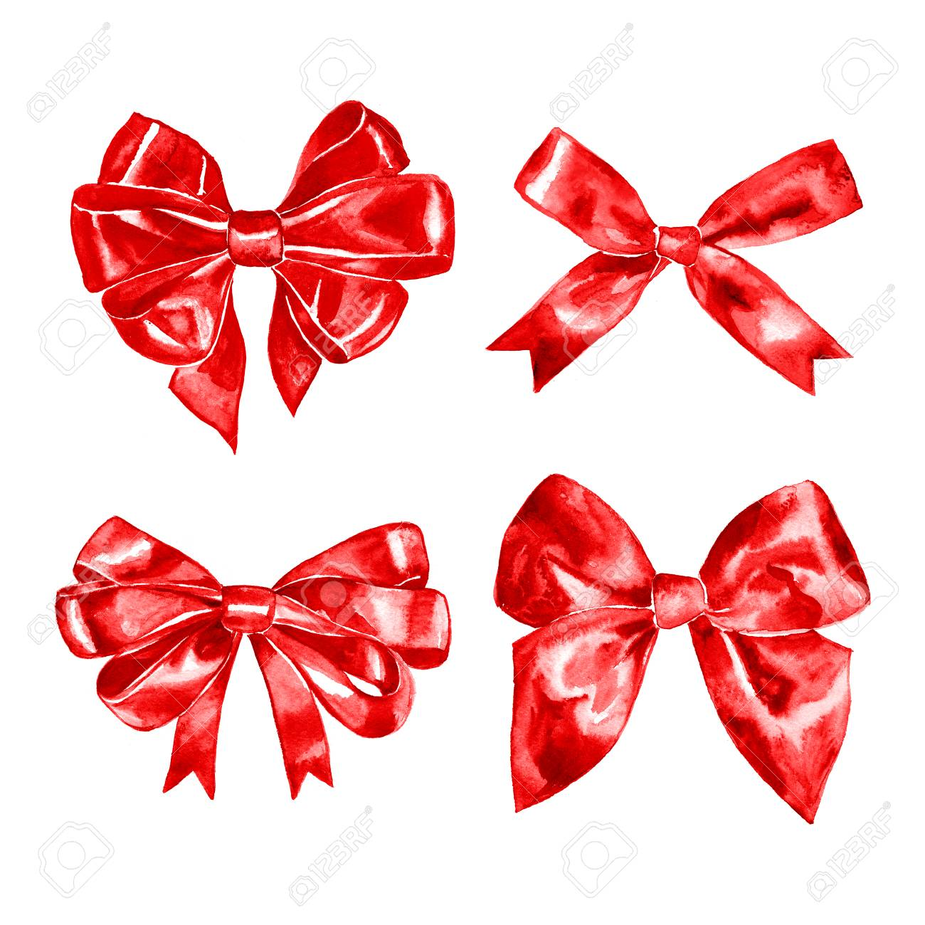 1300x1300 Set Of Watercolor Drawing Red Bows With Paint Stains, Hand Drawn