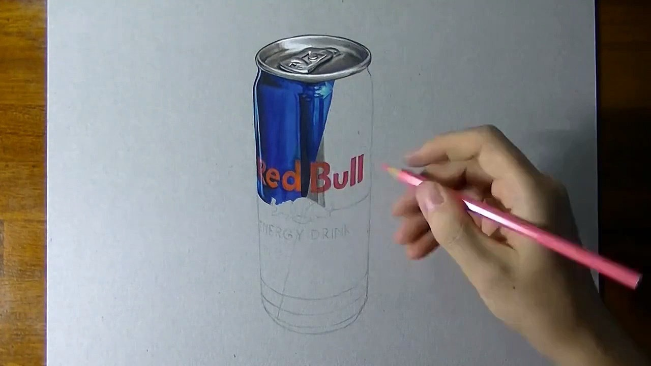 1280x720 Red Bull Can Timelapse Drawing