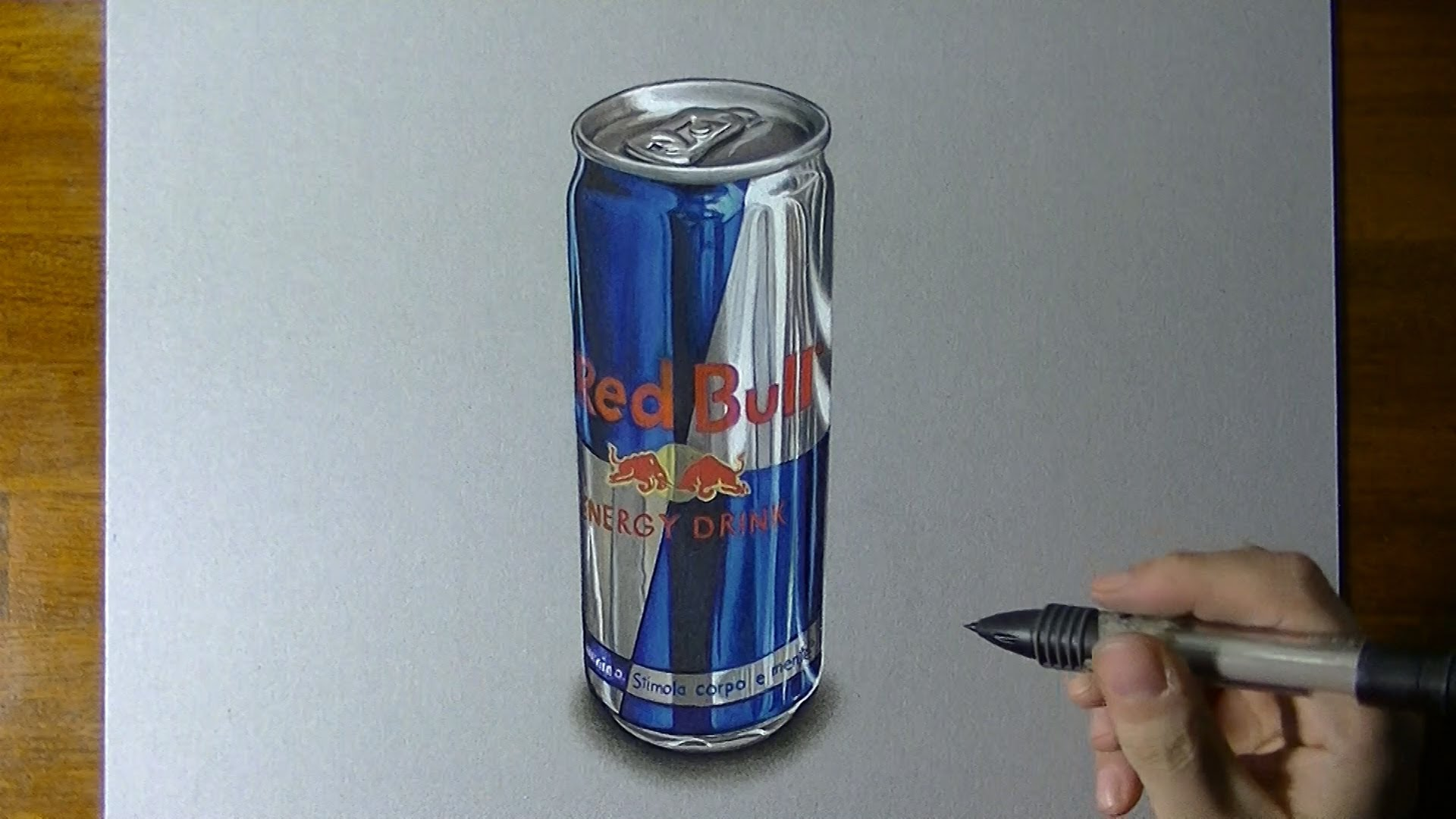 1920x1080 Red Bull Can Timelapse Drawing