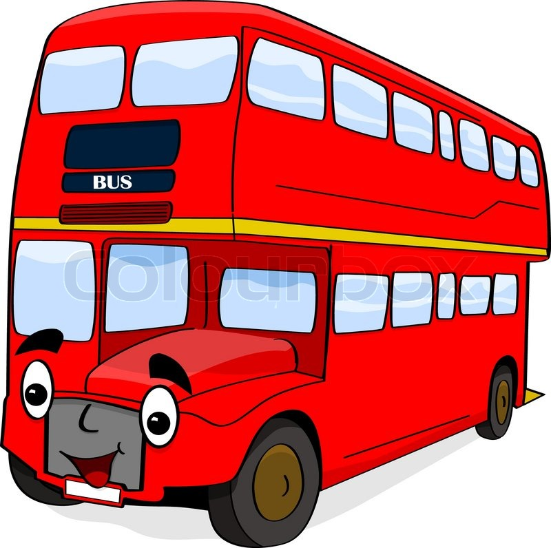 800x796 Cartoon Illustration Showing A Happy Double Decker London Red Bus