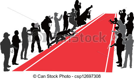 450x267 Group Of People With Camera Near Red Carpet. Vector Vector