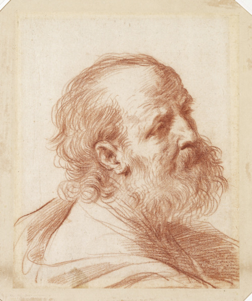 500x598 Bust Of An Apostle, Late 1620s Guercino (Italian) Drawing, Red