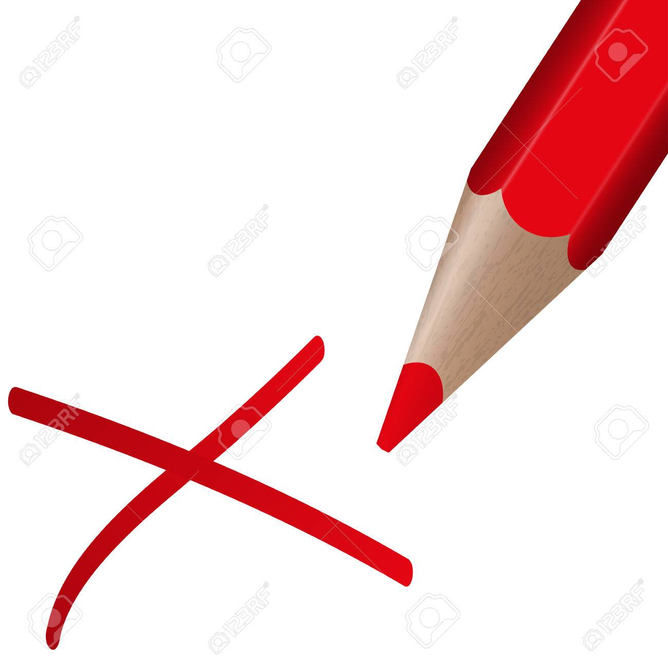 1300x1300 Red Pen Drawing An Red Cross For Election Royalty Free Cliparts