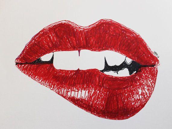 570x428 Fine Art Giclee Print, (Marker) Drawing, Biting Lip, Rouge