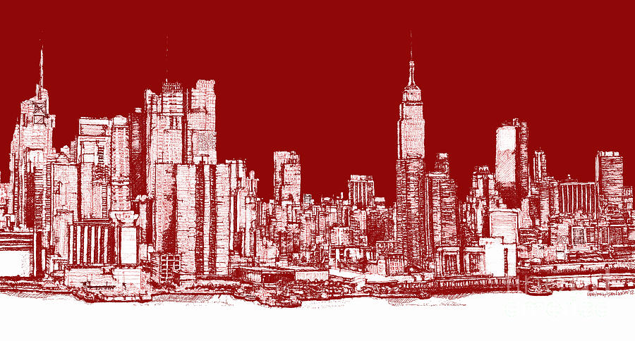 900x484 New York Rectangular Skyline Red Drawing By Building Art