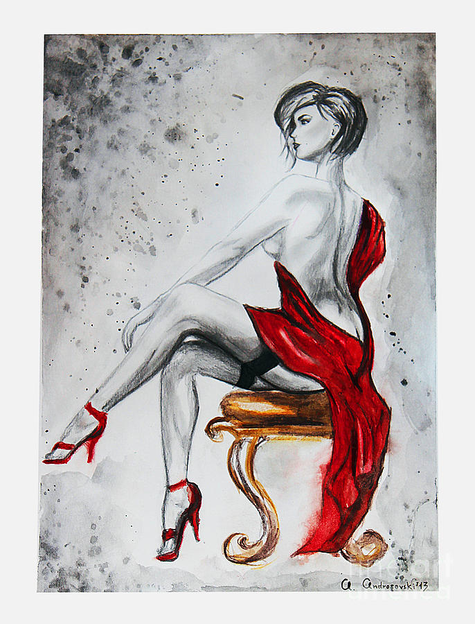 686x900 The Woman In Red Drawing By Anna Androsovski