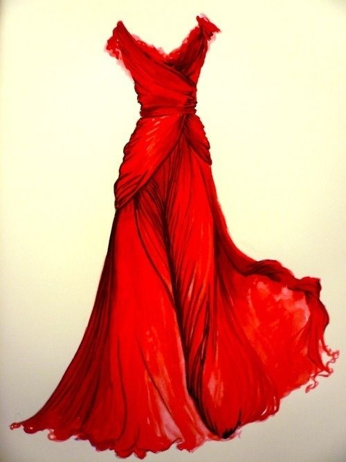 500x667 Drawing Of A Beautiful Red Dress