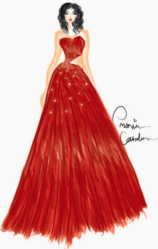 531x834 Emovia Catalina Drawing Red Tulle Gown In Adobe Illustrator