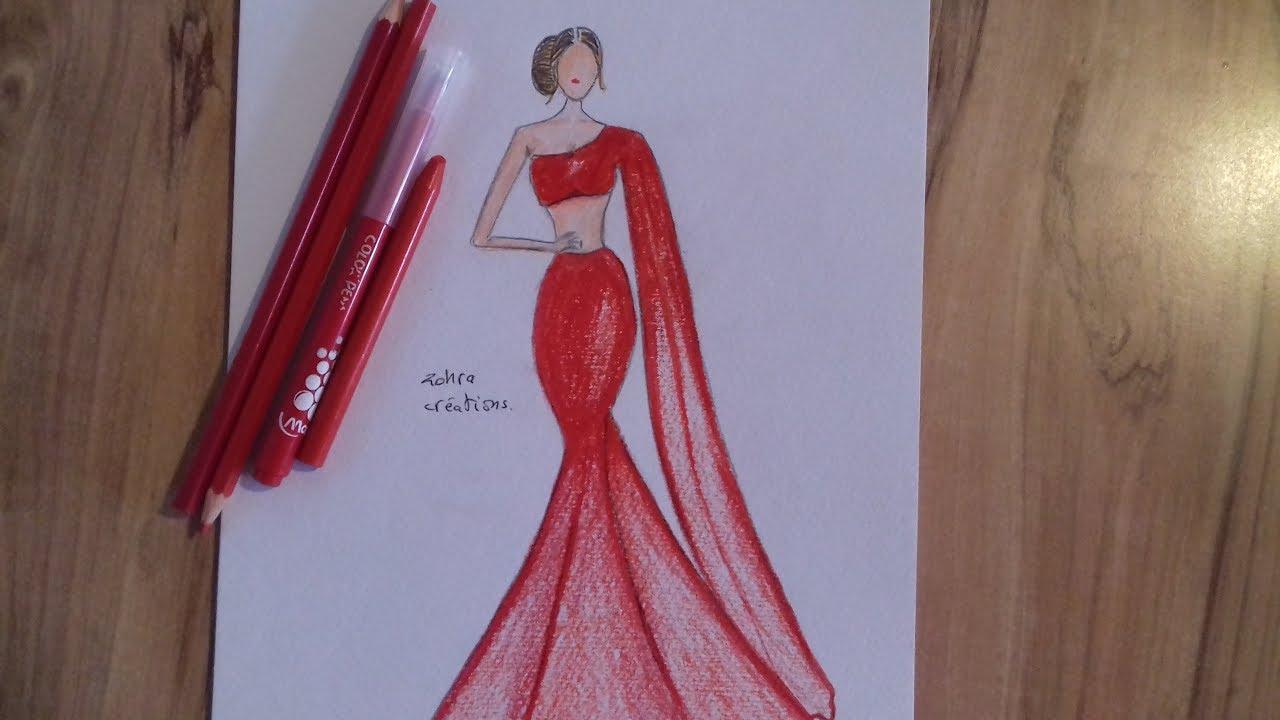 1280x720 Red Dress Drawing
