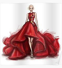 210x230 Red Dress Drawing Posters Redbubble