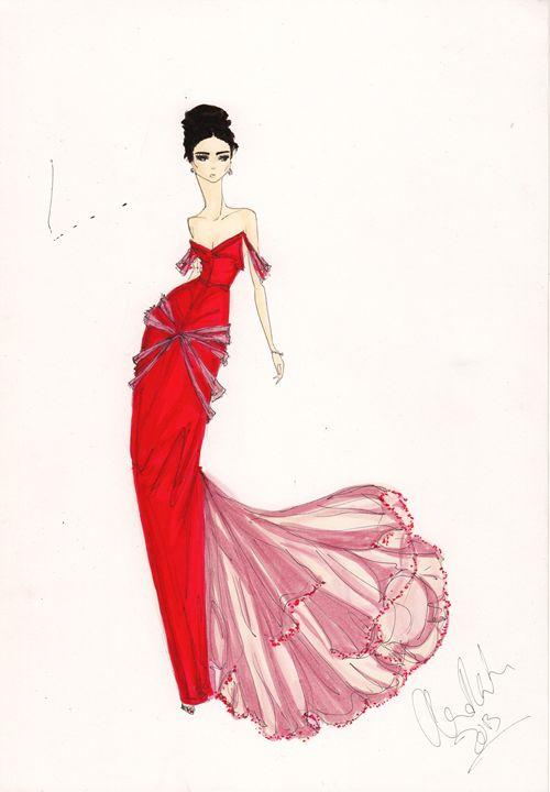 500x720 Red Dress Fashion Art