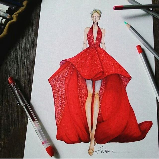 640x640 Red Couture Dress By @michael5inco By @eris Tran
