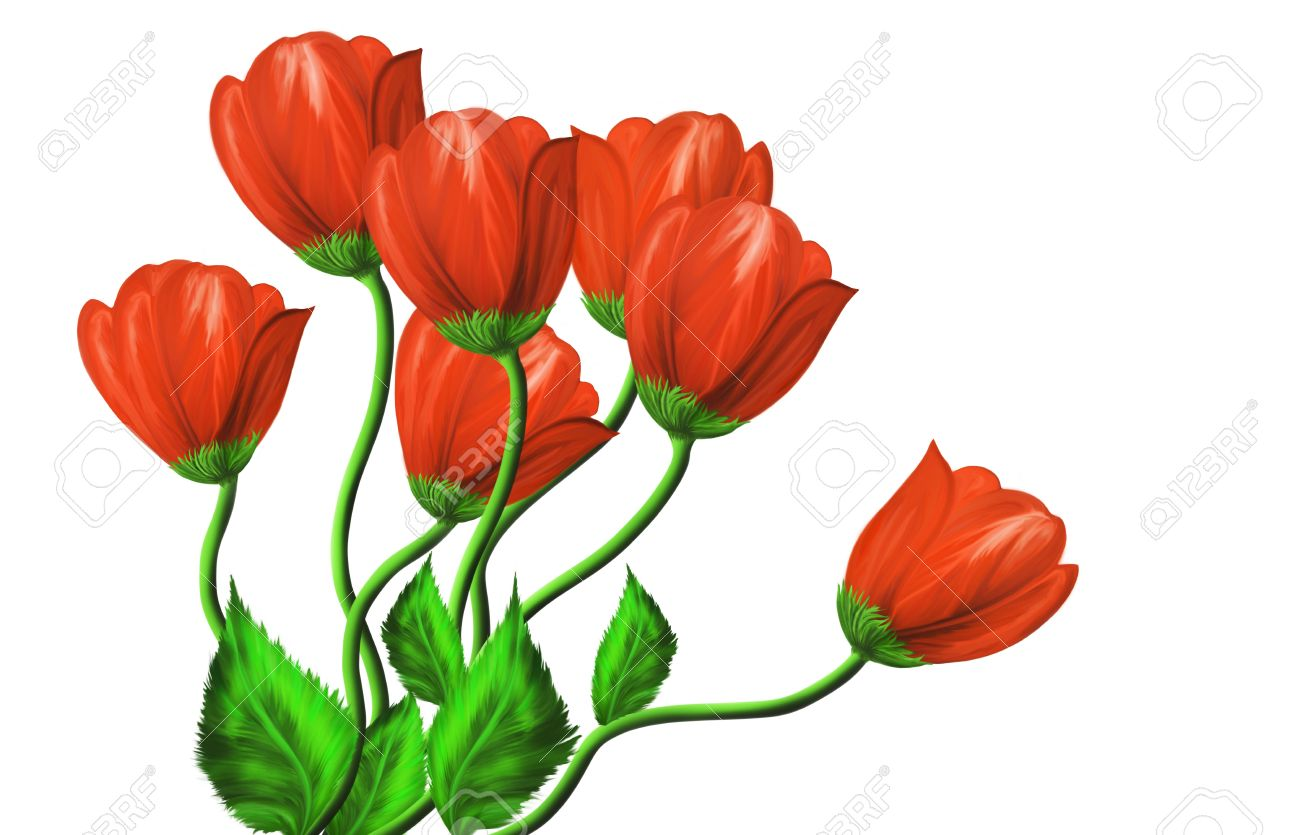 Red Flowers Drawing at GetDrawings.com | Free for personal use Red ...