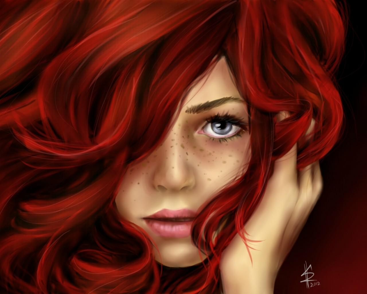 1280x1024 Beautiful Red Hair Girl Drawing
