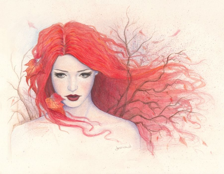 902x700 Pencil Girl Painting Drawing Autumn Red Hair Art Wallpaper