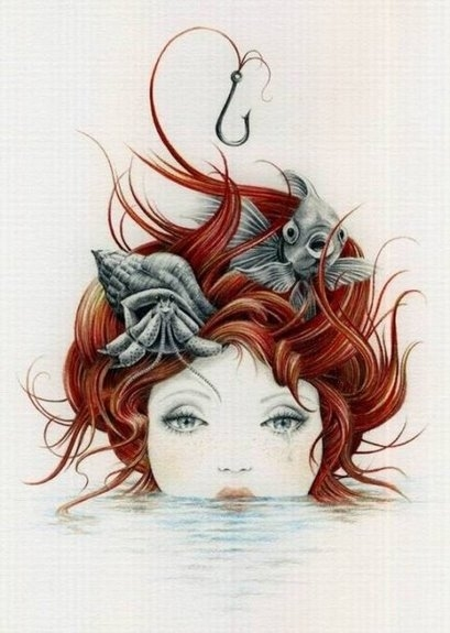 409x575 Courtney Brims, Crying, Drawing, Drawn, Fish, Red Hair