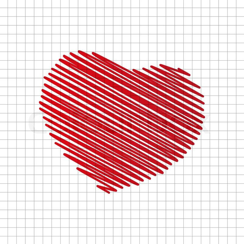 800x800 Brush Drawing Red Heart