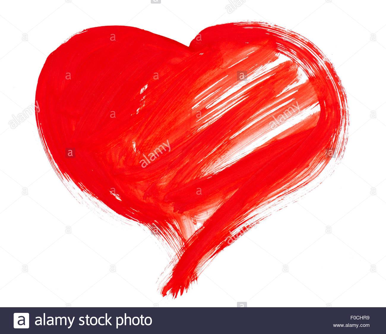 1300x1123 Red Big Heart Symbol. Watercolor Drawing Stock Photo 86329245