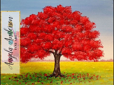 480x360 How To Paint Red Oak Tree Fall Landscape Full Length Live