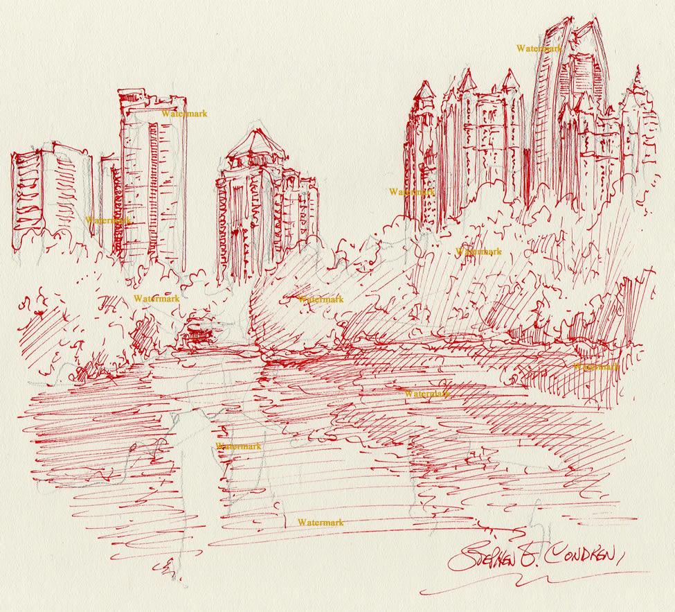 975x883 Atlanta Skyline Pen Amp Ink Drawing Of Piedmont Park In Midtown For Sale