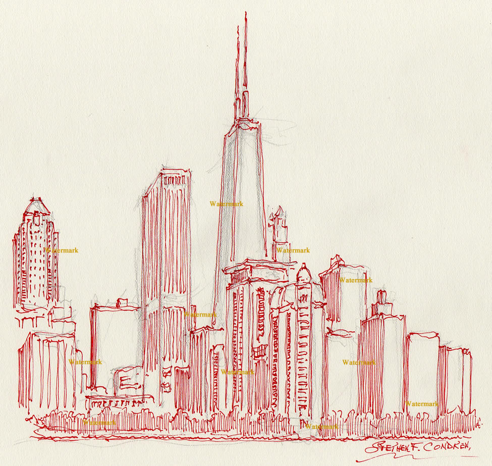 975x923 Chicago Skyline Red Pen Amp Ink Drawing Of Near North Side For Sale