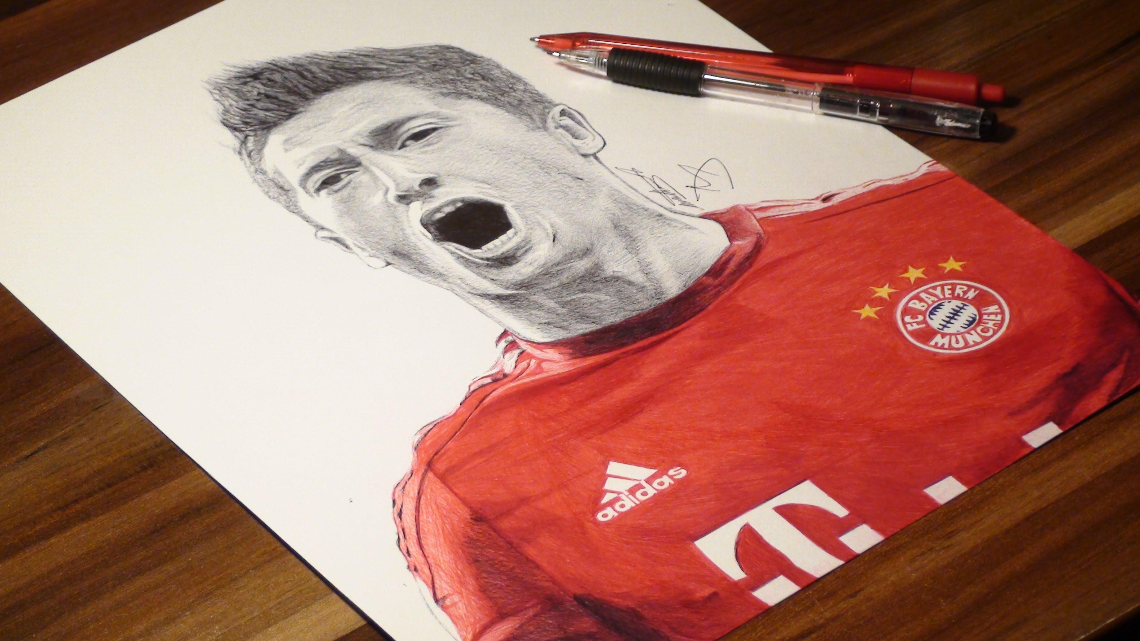3680x2070 Robert Lewandowski Pen Drawing