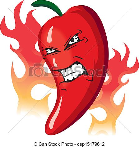447x470 Angry Hot Pepper. Angry Hot Flaming Red Pepper Vector Clip Art