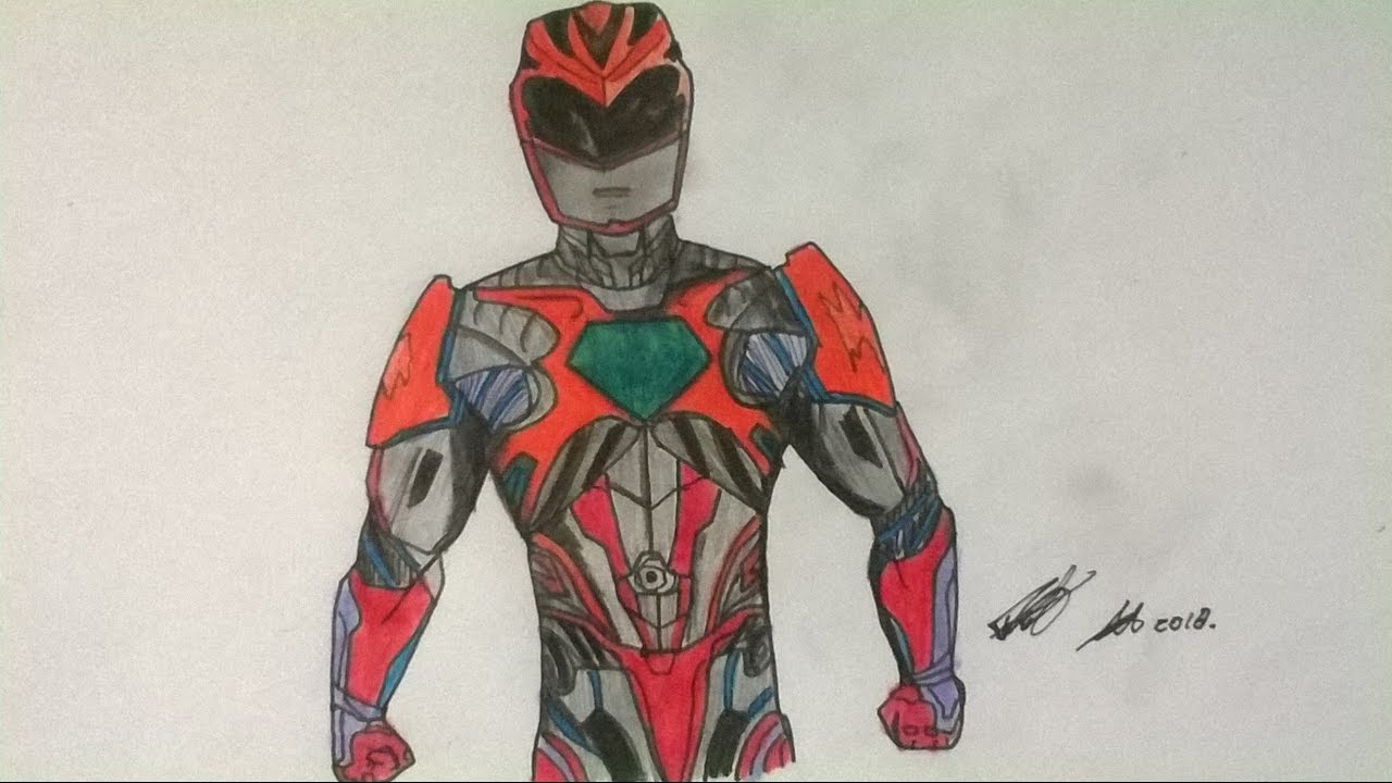 1280x720 Drawing Red Ranger Power Rangers Movie 2017 Speed Drawing