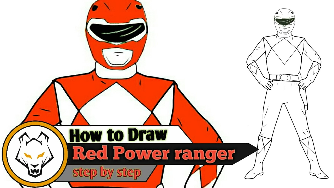 1280x720 Red Power Ranger Step By Step Drawing Just 10 Steps